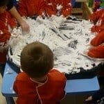 Toddlers explore textures
